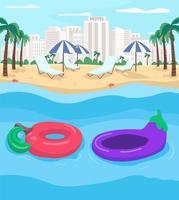 Sommerresort und Schlauchboote flache Farbvektorillustration