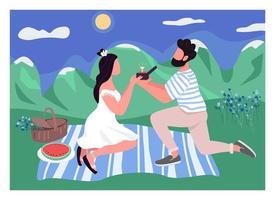 flache Farbvektorillustration des romantischen Vorschlags