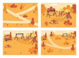 offentlig park i hösttid platt färg vektor illustration set