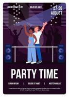 Party Zeit Poster flache Vektor Vorlage