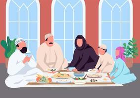 muslimsk familj äter tillsammans platt färg vektorillustration vektor