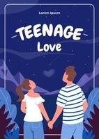 Teenager-Liebesplakat flache Vektorschablone