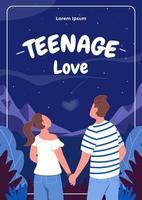 tonårs kärlek affisch platt vektor mall