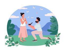 Heiratsantrag 2d Vektor Web Banner, Poster