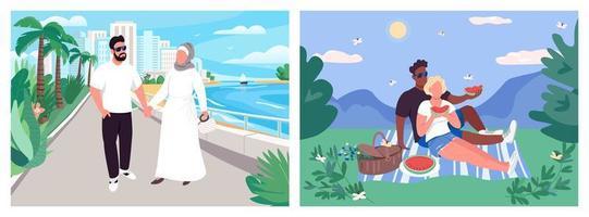 sommar par rekreation platt färg vektor illustration set