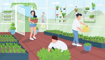 Gärtner in der flachen Farbvektorillustration des Gewächshauses