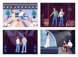 roliga kväll datum platt färg vektor illustration set