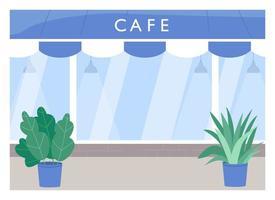 café exteriör platt färg vektorillustration vektor