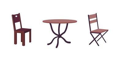 samtida café möbler platt färg vektor objekt set