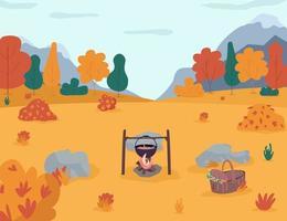 picknick i höst skog halv platt vektorillustration vektor