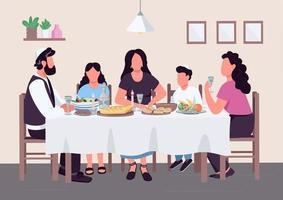 judisk familjemåltid platt färg vektorillustration vektor