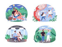 Tagesaktivität für Paare 2d Vektor Web Banner, Poster Set