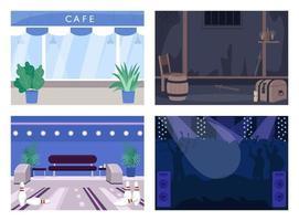 helg underhållning plats platt färg vektor illustration set