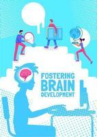 främja hjärnans utveckling affisch platt vektor mall