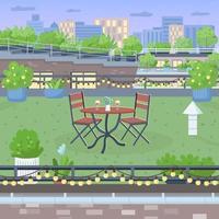 Terrasse für romantische Abendessen flache Farbvektorillustration