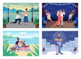 romantisk tidsfördriv platt färg vektor illustration set