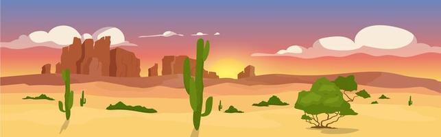 flache Farbvektorillustration der westlichen trockenen Wüste vektor