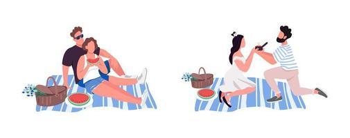 picknick platt färg vektor ansiktslös teckenuppsättning