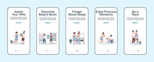 unga föräldrar ombord mobil app skärm platt vektor mall