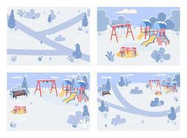 offentlig park i vintertid uppsättning platt färgvektorillustration vektor