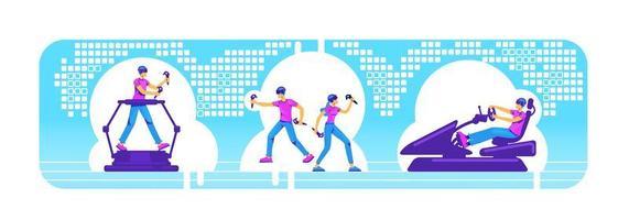 Menschen mit vr Ausrüstung 2d Vektor Web Banner, Poster Set