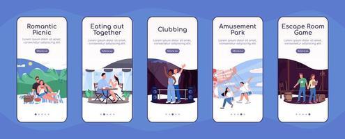 Spaß Datum Ideen Onboarding Mobile App Bildschirm flache Vektor-Vorlage