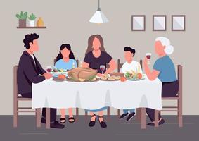 kaukasiska familjen middag platt färg vektorillustration vektor