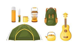 campingutrustning platt färg vektor objekt set
