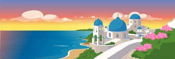 santorini öarna platt färg vektorillustration vektor