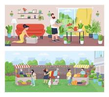 trädgårdsmästare och bönder platt färg vektor illustration set