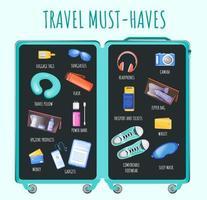 resor måste ha platt informationsinfografisk mall för färgfärg