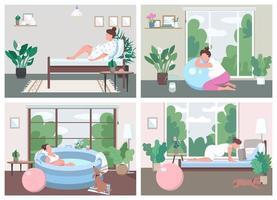 plats för förlossning hemma platt färg vektor illustration set