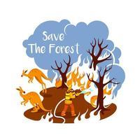 lodernde Wälder 2d Vektor Web Banner, Poster