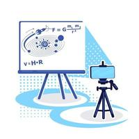streaminginställning för e-lärande plattfärgvektorobjekt vektor