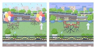 tak för fest platt färg vektor illustration set