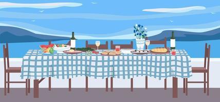 grekisk middag platt färg vektorillustration vektor