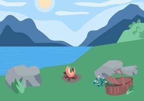 picknick i bergen platt färg vektorillustration vektor