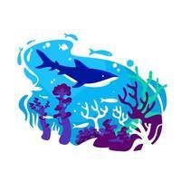 Korallenriff 2d Vektor Web Banner, Poster