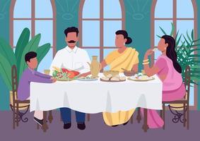 indisk familj måltid platt färg vektorillustration vektor