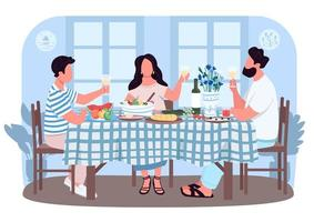 grekisk middag för vänner 2d vektor webbbanner, affisch