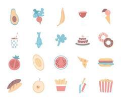 Lebensmittel flache Farbvektorobjekte vektor