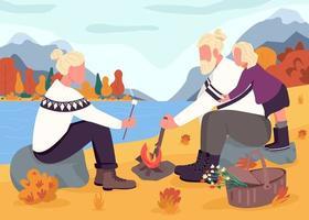 höst picknick platt färg vektorillustration vektor