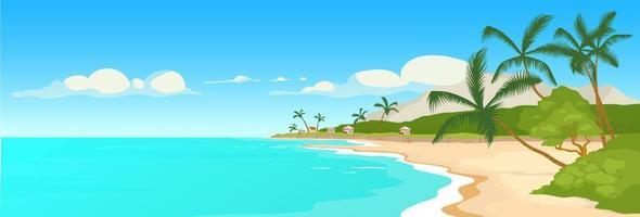 tropisk sandstrand platt färg vektorillustration vektor