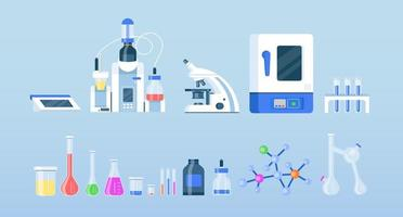 flache Farbvektorobjekte der Laborausrüstung eingestellt