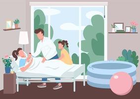 Familienunterstützung für Geburt flache Farbvektorillustration vektor