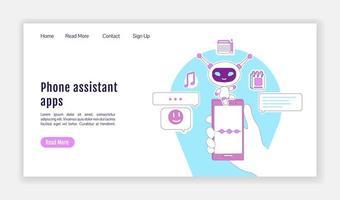 telefonassistent apps målsida platt silhuett vektor mall
