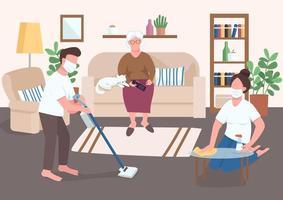 barnbarn hjälper äldre platt färg vektorillustration vektor