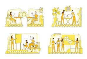 hr chefer plikter silhuett vektor illustrationer set