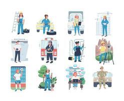 Frauen Beschäftigung flache Farbe Vektor detaillierte Zeichensatz