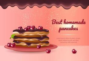 bästa hemlagade pannkakor realistisk vektor produktannons banner mall